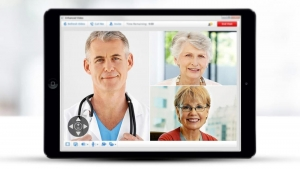 Patients and doctors talking via a smart device