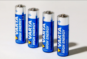 A Row of Alkaline Batteries
