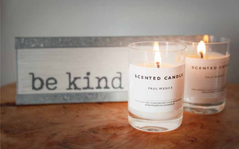 Lit scented candles