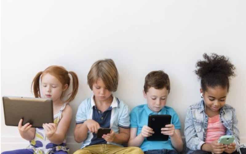 Children on their screens
